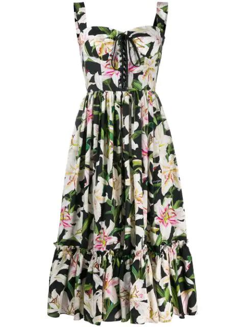 Dolce & Gabbana Lace-up Floral-print Cotton-poplin Midi Dress  In Black