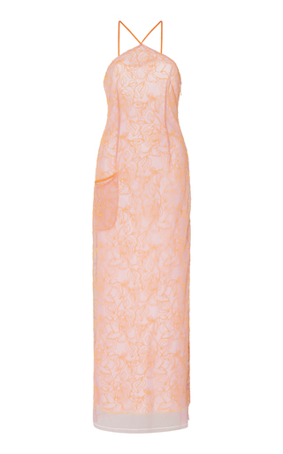 Jacquemus Lavandou Floral Embroidery Tulle Long Dress In Pink