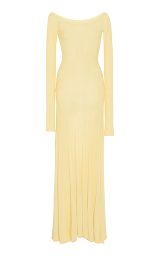 Jacquemus Valensole Off-the-shoulder Pleated Stretch-knit Maxi Dress In Yellow