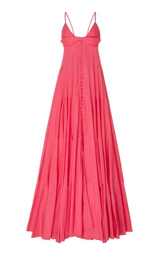 Jacquemus La Robe Manosque Tiered Chiffon Maxi Dress In Pink