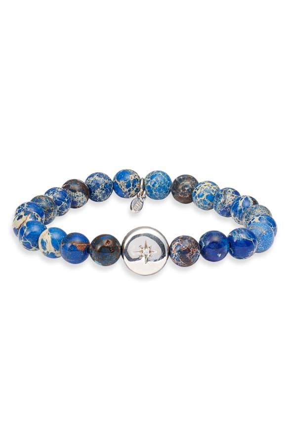Anzie Star Charm Bracelet In Silver/ Jasper
