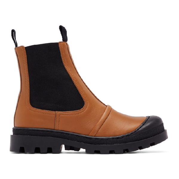 Loewe Rubber-trimmed Leather Chelsea Boots In 2530 Tan