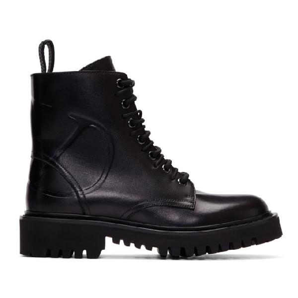 Valentino Garavani SchnÜrstiefeletten Combat Boots  Kalbsleder Logo Schwarz In 0no Black