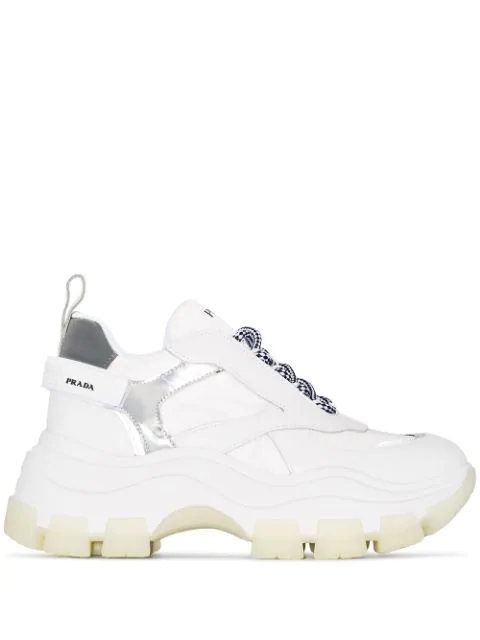 Prada Pegasus Metallic-Paneled Leather And Canvas Sneakers In Bianco  + Argento