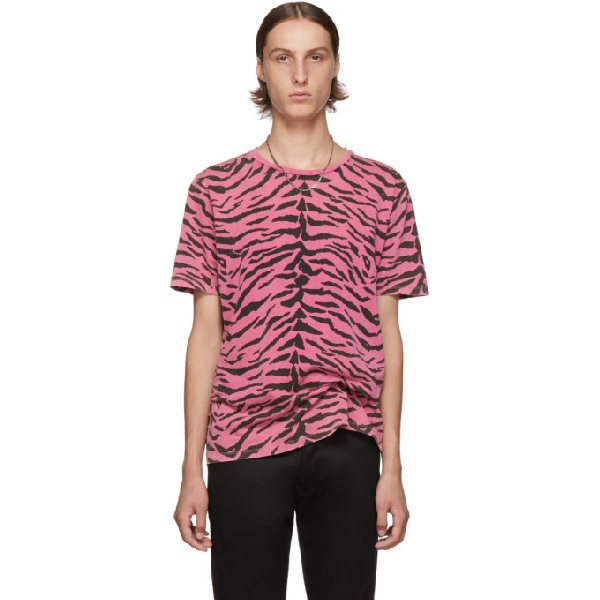Saint Laurent Pink & Black Used-Look Zebra T-Shirt