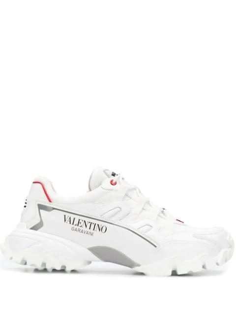Valentino Garavani White Climber Leather Sneaker In Kbm White