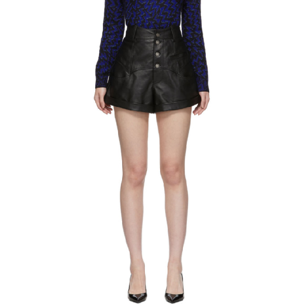 Saint Laurent High-waisted Leather Rock-and-roll  Shorts In 1000 Black