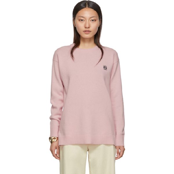 Loewe Anagram-embroidered Round-neck Wool Jumper In 7140 Pink