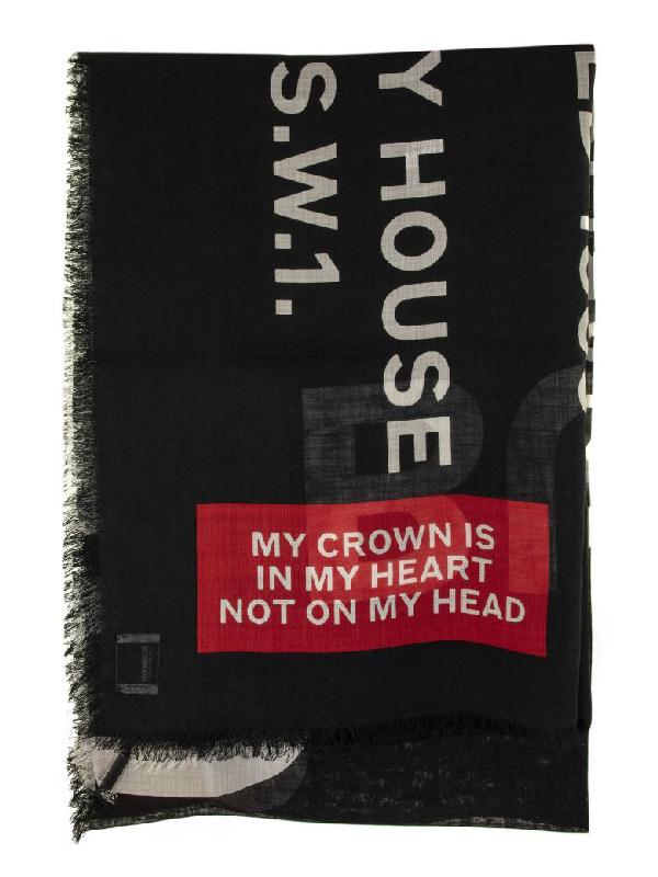 Burberry Horseferry Print Lightweight Wool Silk Scarf In Black