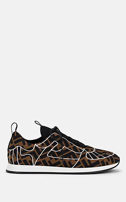Fendi Ffreedom Logo Embroidered Sneaker In Brown