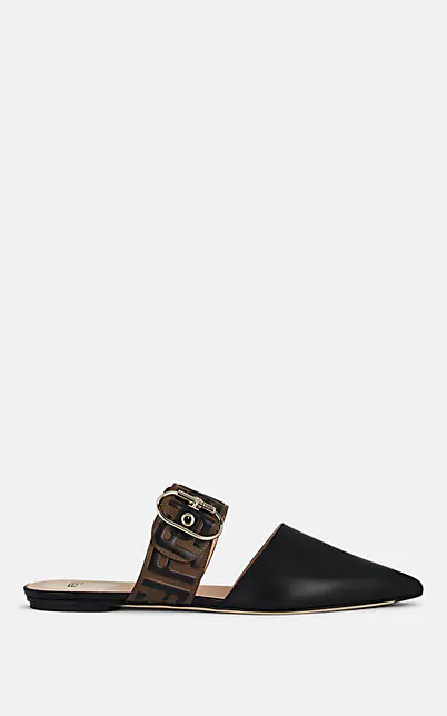 Fendi Leather Mules With Ff Strap In Black