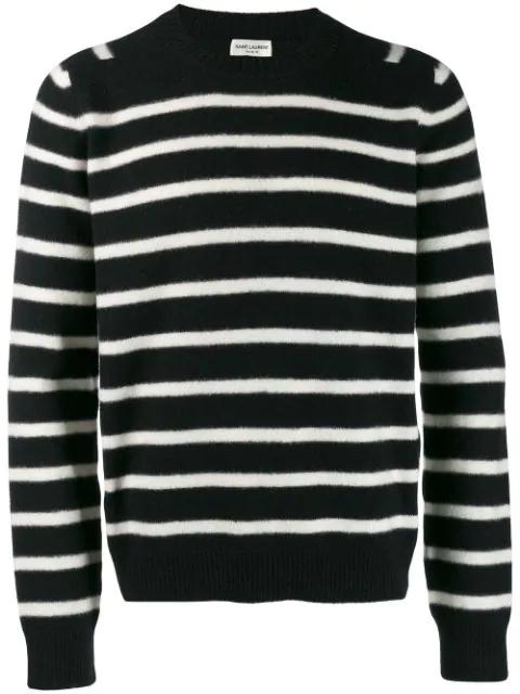 Saint Laurent Striped Brushed Virgin Wool Sweater In 1095 Black White