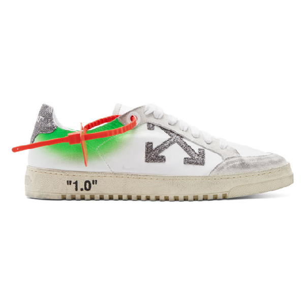 Off-White Arrow 2.0  Distressed Effect Leather And Suede Low Sneakers In White