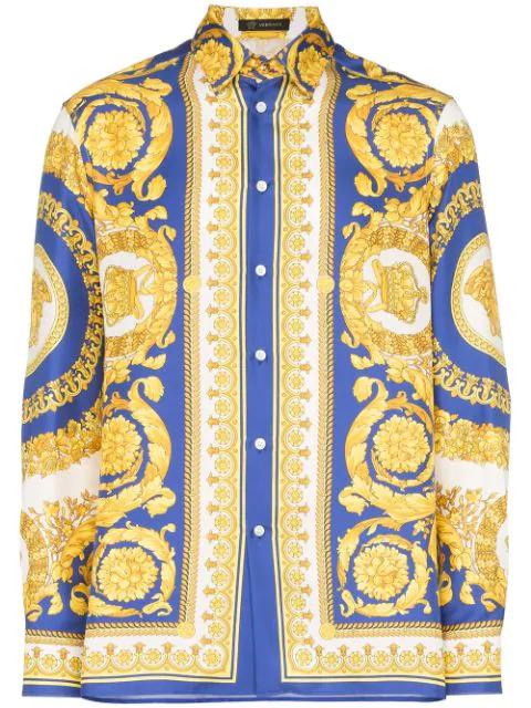 Versace Camicia In Seta Con Stampa Gold Barocco In White