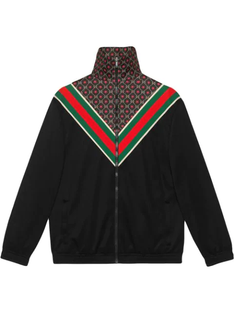 Gucci Webbing-trimmed Logo-print Tech-jersey Track Jacket In Black ,multicolour