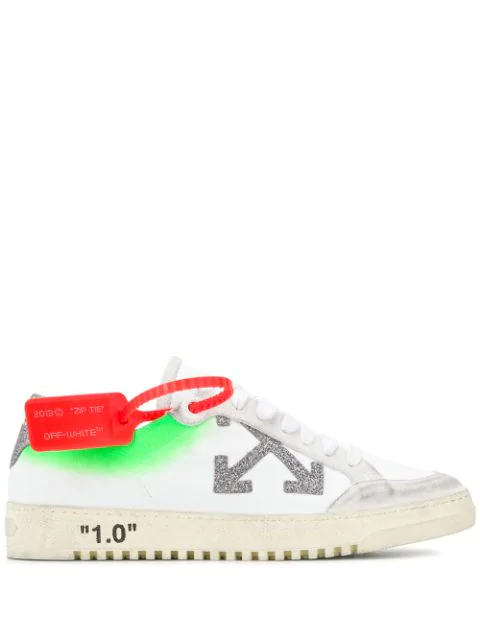 Off-white Arrow 2.0  Distressed Effect Leather And Suede Low Sneakers In Wht Silver