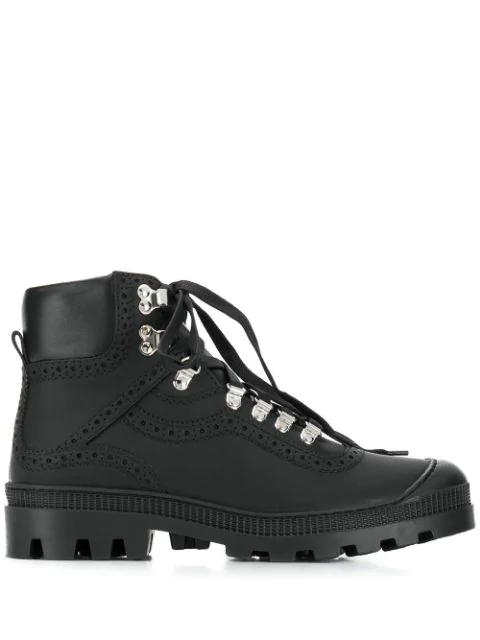 Loewe Hiking Combat Boots In Black Leather