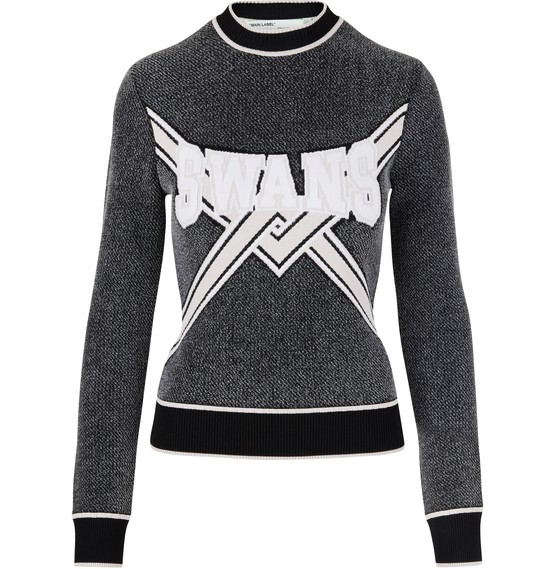 Off-white Stretch Intarsia Knit Sweatshirt In Grey
