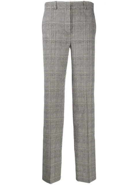 Versace Prince Of Wales-check Wool Straight-leg Trousers In Gray
