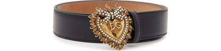 Dolce & Gabbana Devotion Leather Belt With Embellished Buckle In 80999 Nero