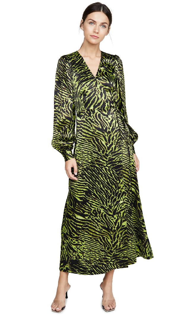 Ganni Animal Print Maxi Dress - 绿色 In Lime Tiger