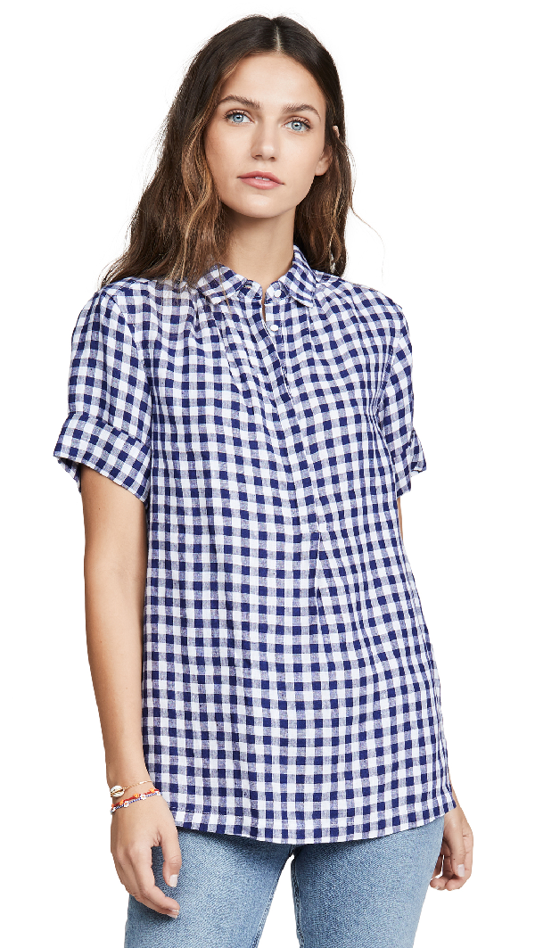 Ayr The Burst Button Down In Blue/White Gingham