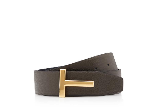 Tom Ford Reversible T Leather Belt In Brown