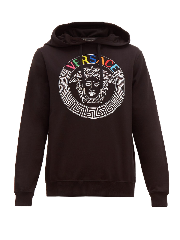 Versace Medusa Head And Rainbow Logo-embroidered Hoodie In Black