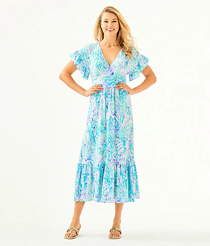 Lilly Pulitzer Jessi Midi Dress In Multi Peony For Your Thoughts