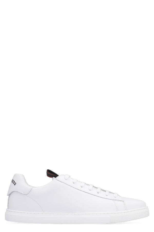 Dsquared2 Men's Shoes Leather Trainers Sneakers Evolution Tape In White