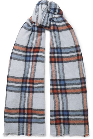 Isabel Marant Simona Checked Wool And Cashmere-Blend Scarf In 30Bu Blue