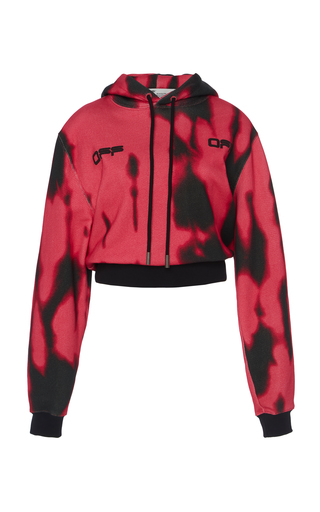Off-white Tiger Dye Sweatshirt In Fuxia Cotton In Pink