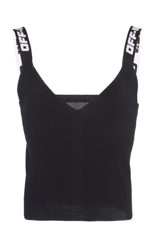 Off-white Jacquard Logo Knitted Top In Black