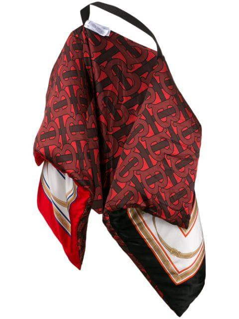 Burberry Monogram Archive Print Oversized Silk Satin Puffer Cape In Red ,black