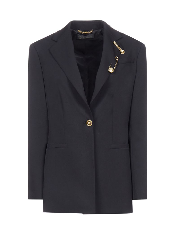 Versace Medusa Button And Safety Pin Long Blazer In Black