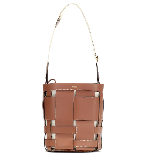 Burberry Small Leather Foster Bucket Bag In Malt Brown