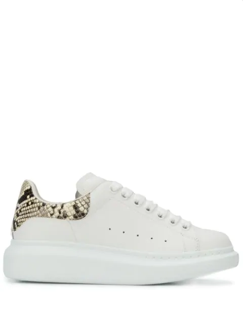 Alexander Mcqueen White And Printed Python Classic Sneakers In White/natural