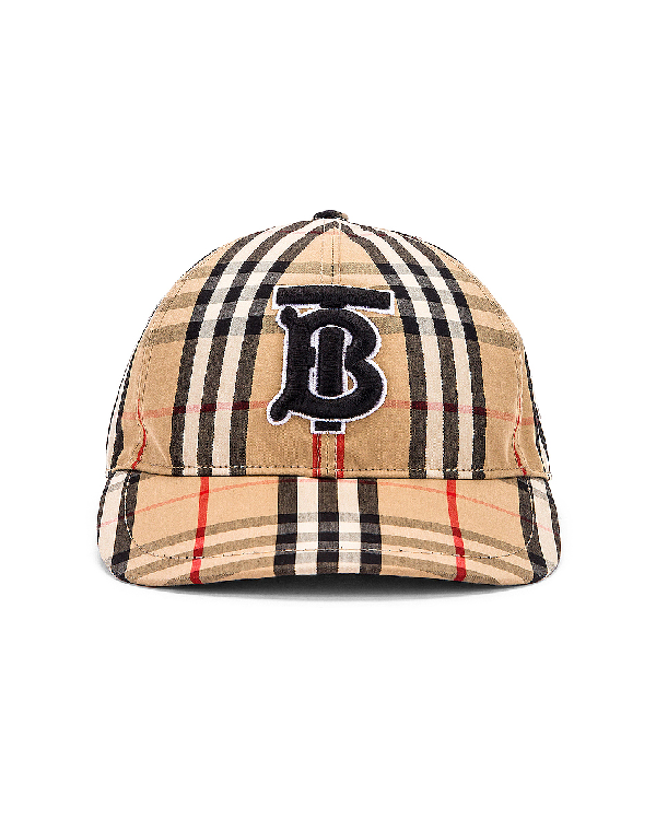 Burberry Monogram Motif Vintage Check Baseball Cap In Archive Beige Check
