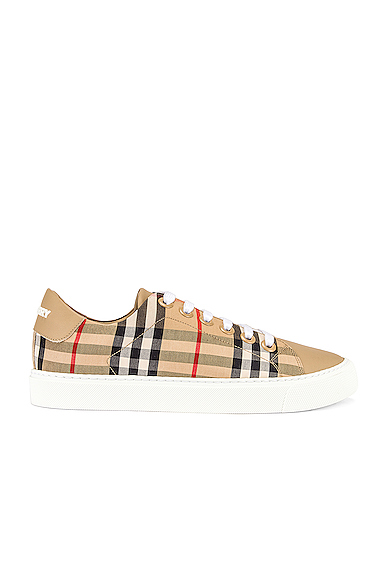 Burberry Westford Check Sneakers With Pvc Coating In Antique Yellow Cotton In Archive Beige