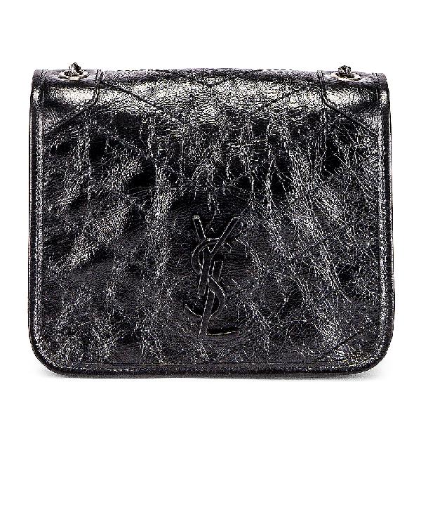 Saint Laurent Niki Chain Wallet Vintage Leather Bag In Black