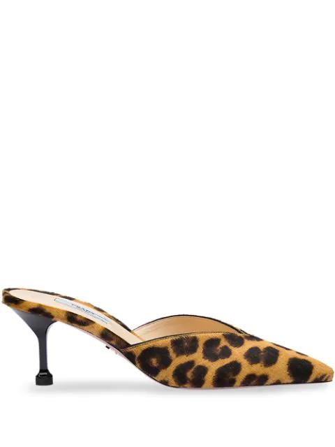 Prada Leopard Print Genuine Calf Hair Mule In Brown
