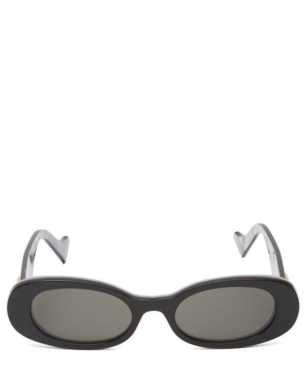 Gucci 52Mm Oval Sunglasses - Black Acetate