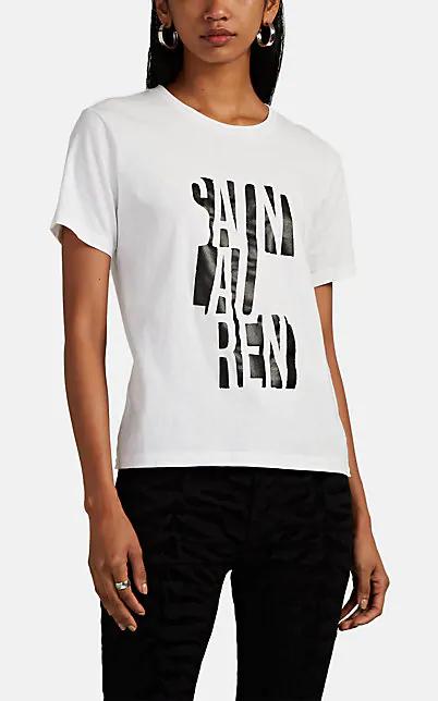 Saint Laurent Round-Neck T-Shirt With Logo Print In White