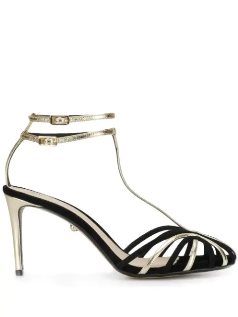 AlevÌ Strappy Heeled Sandals In Black