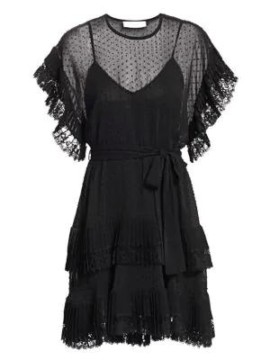 Zimmermann Eye Spy Dotted Mini Dress In Black