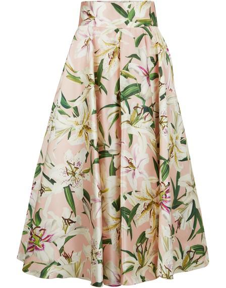 Dolce & Gabbana High Waist Printed Shantung Midi Skirt In Pink