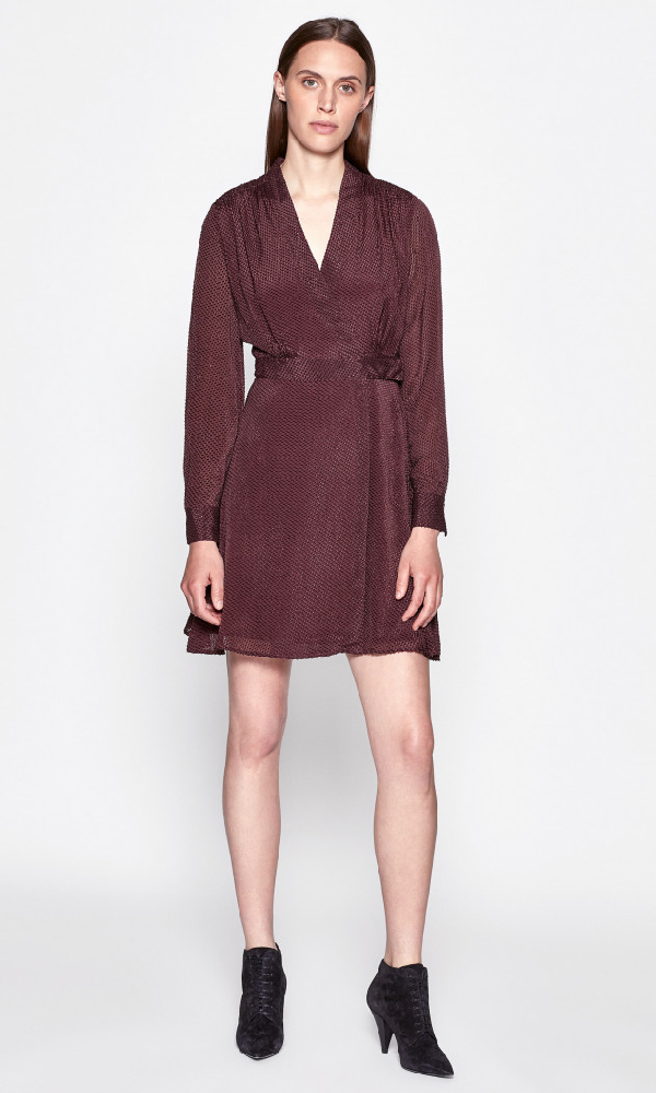 Equipment Allaire Textured Long Sleeve Silk Blend Wrap Dress In Aubergine Bis