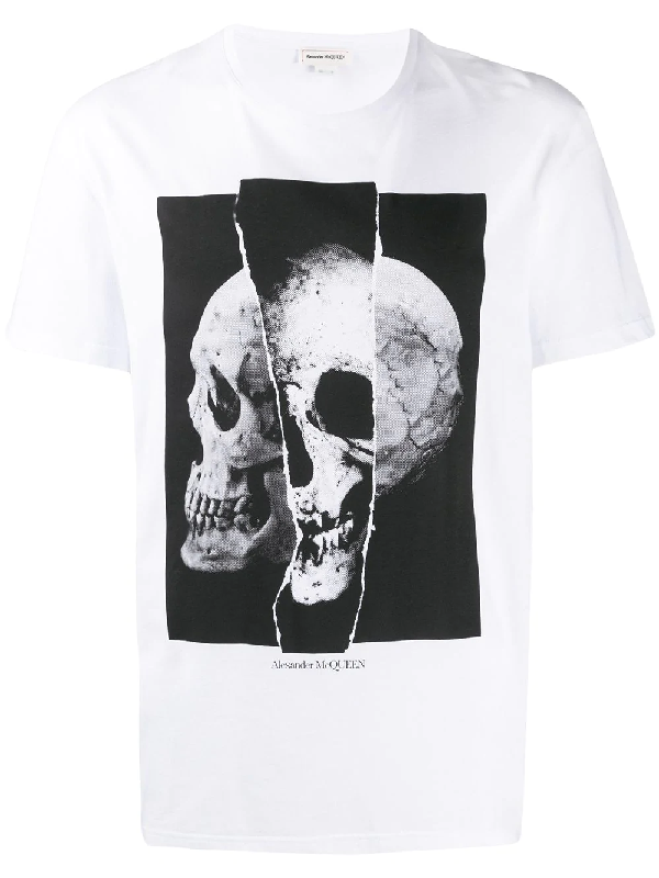 Alexander Mcqueen Men's Spliced Skull Graphic Cotton T-Shirt In White