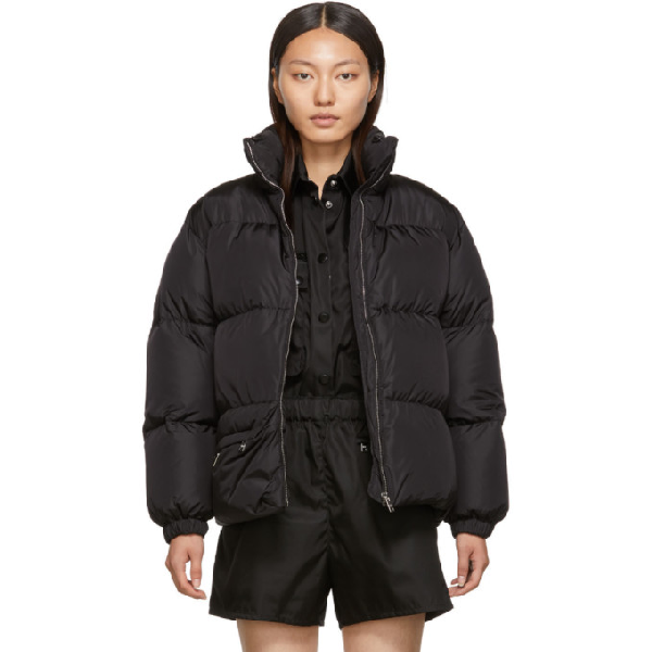 Prada Nylon Quilted Shell Down Jacket In Black In F0002 Black