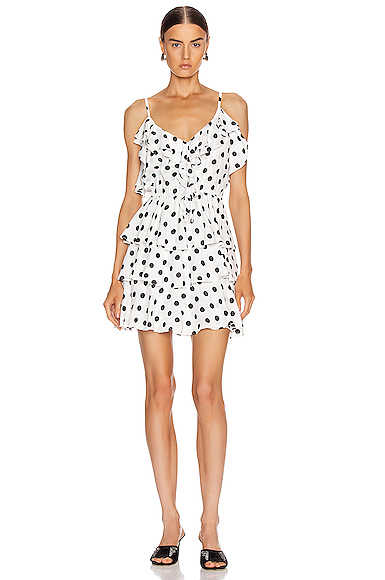 Icons Objects Of Devotion Ruffle Stacked Mini Dress In White & Black Polka Dot